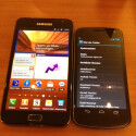 Größenvergleich: Das Samsung Galaxy Note (links) im Vergleich zum Galaxy Nexus. (Bild: netzwelt)