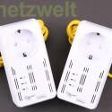 Wie üblich bei den Herstellern von Stromnetzwerk-Geräten, kommt auch das Modell All168555SDOUBLE von Allnet mit zwei Ethernet-Kabeln. (Bild: netzwelt)