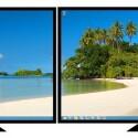 Mithilfe der Panorama-Funktion kann ein Bild über zwei Monitore ausgebreitet werden. (Bild: Microsoft)