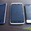 ...Rundungen wie beim Android-Modell One X (Mitte) werden Nutzer beim 8X (links) und dem 8S (rechts) nicht finden. (Bild: netzwelt)