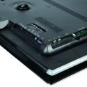 Auf der Rückseite des 21:9-Fernsehers stehen alle wichtigen Schnittstellen zur Verfügung, wobei der SD-Slot als Zwischenspeicher für Video-on-Demand-Dienste dient. Das Ambilight befindet sich im Rahmen. (Bild: netzwelt)