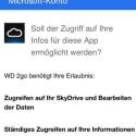 Per WD 2go-App ist auch der Zugriff auf Dropbox- und Skydrive-Konten möglich. Dafür bietet das Miniprogramm um Erlaubnis. (Bild: netzwelt)