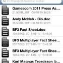 Die Dateien werden in einer übersichtlichen Liste angezeigt, geordnet  nach Dateien, Fotos, Filmen und Ordnern. (Bild: Screenshot)