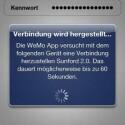 Die App stellt dann eine Verbindung zum Funknetz her. (Bild: Screenshot)