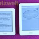 Im direkten Vergleich zum Kobo glo (rechts) wird die um ein Zoll verkleinerte Anzeige sichtbar. (Bild: netzwelt)
