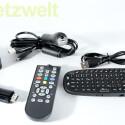 Der Android-HDMI-Stick TizzBird N1 kommt mit Fernbedienung, USB-Kabel für Stromversorgung, Netzteil. Eine Funktastatur mit Touch-Oberfläche ist separat erhältlich. (Bild: netzwelt)