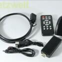 Der Hersteller liegt dem Gerät eine HDMI-Verlängerung, eine Fernbedienung, Infrarot-Empfänger, USB-Universal-Netzteil, MicroUSB-USB-Kabel bei. (Bild: netzwelt)