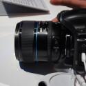 Live vom Presseevent, die neue Kamera mit aufgesetzter 85mm F1,4 Festbrennweite. (Bild: netzwelt)