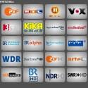 Nach Klick auf Live TV finden Sie eine Ansicht mit unverschlüsselten TV-Sendern. Die Fritz!Box 7390 lieferte im Test 42 Entertain-Sender aus. Die meisten ProSiebenSat.1-Sender sind wegen Verschlüsselung nicht dabei. (Bild: Screenshot)