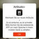 Philips empfiehlt den Wechsel zur neuen AirStudio+-App für iOS und Android. Sie ermöglicht eine komfortablere Steuerung der Wiedergabe. (Bild: Screenshot)