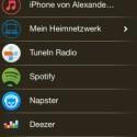 Die lokale iTunes-Bibliothek, Internetradio, Streaming-Dienste, Netzwerkmedien und an die Boxen angeschlossene Audiogeräte stehen als Musikquellen zur Verfügung. (Bild: Screenshot)