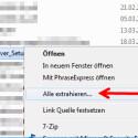 """Im Kontextmenü klicken Sie auf """"Alle extrahieren"""". Sollten Sie eine zusätzliche Software für das Entpacken nutzen, suchen Sie diese im Kontextmenü und klicken auf """"Hier extrahieren"""". (Bild: Screenshot)"""