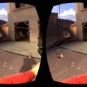 So sieht das Bild aus, dass an die beiden Linsen der Oculus Rift gesendet werden. (Bild: Valve)