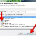 Markieren Sie die Dateien oder Ordner, die Sie wiederherstellen möchten. Es werden alle Elemente wiederhergestellt, die mit einem Häkchen markiert sind. (Bild: Screenshot)
