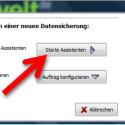 """Nach dem ersten Start der Software fragt Sie das Programm, ob Sie die erste Datensicherung mit dem Assistenten konfigurieren möchten. Alternativ öffnen Sie die Benutzeroberfläche über den Button """"Auftrag konfigurieren"""". Klicken Sie auf den Button """"Starte Assistenten"""", um den ersten Backup-Auftrag einzurichten. (Bild: Screenshot)"""