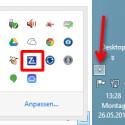 Um die Einstellungen aufzurufen, klicken Sie auf das kleine Dreieck in Ihrer Taskleiste. Es öffnet sich ein kleines Fenster mit den Benachrichtigungssymbolen. Klicken Sie hier mit der linken Maustaste doppelt auf das ZoneAlarm-Symbol. (Bild: Screenshot)