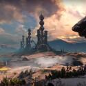 Alt-Russlands wunderschön dystopisches Panorama wird von einer verwahrlosten Raketenabschussanlage dominiert, die sich gegen Sonnenuntergänge am Firmament abzeichnet. (Bild: Screenshot Activision)