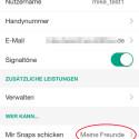 """In den Einstellungen finden Sie jetzt die Angabe """"Meine Freunde"""". Auch die Option darunter sollten Sie auf Ihre Freunde oder sogar nur ausgewählte Nutzer begrenzen. Mit """"Meine Geschichte"""" veröffentlichen Sie Bilder und Videos, ähnlich wie bei einer Gruppennachricht in WhatsApp, allgemein für die hier angegebenen Nutzer. Alle Nutzer können für 24 Stunden unbegrenzt Ihre Postings ansehen. (Bild: Screenshot/Snapchat)"""