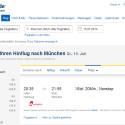 Neben Pauschalreisen, Hotelübernachtungen und Kreuzfahrten bietet expedia.de auch Flugbuchungen. Preislich bewegten sich die Angebote in unserem Test im Mittelfeld. Das Reisebüro gehörte nie zu den billigsten oder teuersten Anbietern. Dafür bekommen Sie für Ihre Reisebuchung Payback-Punkte. (Bild: Screenshot)