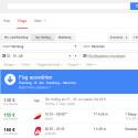Google Flights ist erst Ende 2013 in Deutschland gestartet und kann auch heute noch nicht überzeugen. In unserem Test zeigte die extrem schnelle Flugsuche von Google immer den höchsten Preis im Vergleich zu den vier getesteten Flug-Suchmaschinen. Wahrscheinlich durchsucht das Tool noch zu wenig Seiten oder Google arbeitet nur mit ausgewählten Partnern zusammen. Zu den sonst so passenden Suchtreffern von Google passt das nicht. (Bild: Screenshot)