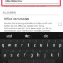 Oben finden Sie ein Feld für Ihren Namen. Dieser wird benötigt, wenn Sie vorhandene Office-Dokumente kommentieren. Ihre Kommentare werden automatisch mit Ihrem Namen versehen. Geben Sie Ihren Namen ein. Tippen Sie auf die Zurück-Taste Ihres Smartphones, um die Einstellungen zu verlassen. (Bild: Screenshot/Microsoft Office Mobile)