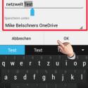 """Geben Sie den Namen des Dokuments ein und wählen Sie unter """"Speichern unter:"""" den Cloud-Speicher aus. Diese Funktion ist für Nutzer gedacht, die mehrere Cloud-Dienste mit der App nutzen. Nachteilig ist, dass Ihre selbst erstellten Dokumente bei OneDrive im Stammverzeichnis der Cloud gesichert werden. Sie können diese nicht in Unterordnern sichern. (Bild: Screenshot / Microsoft Office Mobile)"""