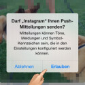 Zum Abschluss der Registrierung müssen Sie entscheiden, ob Instagram Ihnen Push-Mitteilungen senden darf. Das macht Sinn, weil Sie so über Neuigkeiten informiert werden. Welche News per Push angezeigt werden, legen Sie in den Einstellungen fest. Um die Registrierung abzuschließen, bestätigen Sie den Link in der E-Mail, welche Sie erhalten haben. (Bild: Screenshot/Instagram)
