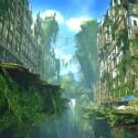 Nach einem globalen Krieg hat die Natur die Spuren der vertriebenen Menschheit mit floralem Grün verwischt und ausradiert. (Bild: Bandai Namco)