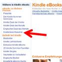 In den verschiedenen Kategorien suchen Sie nach Büchern, die Sie interessieren. Über die Suchfunktion können Sie gezielt nach Buchtiteln oder Autoren stöbern. (Bild: Screenshot/amazon.de)