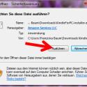"""Nachdem Sie die Datei heruntergeladen haben, öffnen Sie diese mit einem Doppelklick. Anschließend klicken Sie auf """"Ausführen"""", damit die Software installiert und gestartet wird. (Bild: Screenshot/Kindle for PC)"""