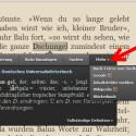 """Über das kleine Dreieck hinter """"Mehr"""" rufen Sie sich die erweiterten Funktionen auf. So schlagen Sie Begriffe bei Wikipedia nach, googeln fremde Wörter oder melden Inhaltsfehler. (Bild: Screenshot/Kindle for PC)"""