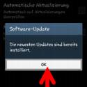 """Sollten Sie bereits die aktuellste Softwareversion für Ihr Gerät installiert haben, wird Ihnen das mitgeteilt. Tippen Sie auf """"OK"""", um das Fenster zu schließen. (Bild: Screenshot/Samsung Galaxy S4 mini)"""