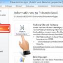 """Wählen Sie den Reiter """"Datei"""". Unter """"Informationen"""" finden Sie die Schaltfläche """"Medien komprimieren"""". Klicken Sie darauf, öffnet sich eine Auswahl. (Bild: Screenshot/Microsoft PowerPoint 2010)"""