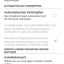 Einstellungsübersicht mit der Option zur automatisierten Installation neuer Apps auf die SD-Karte. (Bild: Screenshot)