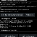App-Ansicht mit den Optionen zur Auslagerung auf die SD-Karte. (Bild: Screenshot)