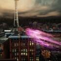 Statt (zeitweise) davon abhängig zu sein, als menschliche Rauchschwade ungelenk durch Lüftungsschächte gepustet zu werden, funken wir in sprühendem Neon wie in Lichtgeschwindigkeit durch Seattle. (Bild: Screenshot, Sony)