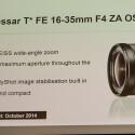 Das Vario Tessar T* FE 16-35mm F4 ZA OSS kommt schon im Oktober auf den Markt.