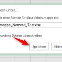"""Du gibst deiner Arbeitsmappe einen Namen und klickst auf """"Speichern"""". Somit ist die Datei in deinem OneDrive gespeichert."""