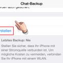 """Hier kannst du über """"Backup jetzt erstellen"""" sofort eine manuelle Datensicherung anlegen. Auf Wunsch richtest du über """"Autom. Backup"""" eine automatische Sicherung der Konversationen ein."""