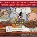 """Die Peanuts gibt es als interaktives Buch zum Mitmachen bei """"A Charlie Brown Thanksgiving"""". Hier spielst du Foodball mit Charlie Brown, kochst Essen mit Snoopy und deckst den Tisch mit Woodstock. 3,99 Euro gespart."""