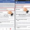 """Die mit Facebook verbundenen Apps findest du unter """"Mit Facebook angemeldet"""". Tippe darauf, um die Übersicht aufzurufen."""
