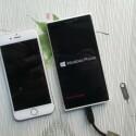 Der Größenvergleich zeigt: Das Lumia 1030 (rechts) ist größer als das iPhone 6 (links). (Bild: cnbeta.com)