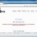 """Wenn sich die Webseite öffnet, siehst du deine IP-Adresse und bekommst den Hinweis, dass diese nicht anonymisiert wird. Klicke auf """"Test starten"""", um detailliertere Angaben zu lesen."""
