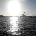 Sonnenschein im Hamburger Hafen.