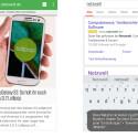 Ein Blick auf den vorinstallierten Webbrowser sowie die Tastatur in AICP.
