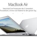 Die MacBook Air-Reihe ist äußerlich unverändert, verfügt nun aber neben den Broadwell-Chipsätzen über Thunderbolt 2-Anschlüsse.
