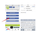 """Anstelle des Faxversands über ein Foto habt ihr auch die Möglichkeit, eine in der App gespeicherte PDF-Datei über """"Sende Fax-Dokument"""" zu versenden. Auch der Versand eines reinen Textfaxes ist über """"Sende Text-Fax"""" möglich. Dabei gebt ihr den Text wie bei einer E-Mail manuell ein."""