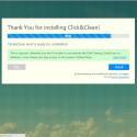 """Es öffnet sich anschließend eine neue Webseite mit einem Fenster. Der Hersteller bedankt sich, dass ihr die Software installiert habt. Ihr habt jetzt die Möglichkeit eine weitere App zu installieren, welche Click&Clean mit zusätzlichen Funktionen wie einem Scanner für Malware, einem Privatsphäre-Test oder einem Anzeigeprogramm für den Cache-Speicher ausstattet. Wenn ihr das möchtet, klickt ihr auf den blauen Button """"Install"""". Alternativ beendet ihr die Installation mit einem Klick auf """"Skip""""."""