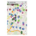 Nach dem Start der Anwendung werden Sie per GPS lokalisiert. Die App zeigt Ihnen automatische alle verfügbaren Fahrzeuge und Fahrräder der an Ihrem Standort ansässigen Carsharing-Anbieter. (Bild: Screenshot / Mobility Map)