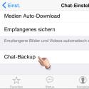 "Wähle den Menüpunkt ""Chat-Backup"" aus."